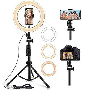 10.2' Selfie Ring Light with Extendable Stand (16.56' to 54') & Flexible Phone Holder,3 Light Modes &10 Brightness,LED Ring Light for YouTube/Tik Tok/Live Stream/Make up,Remote Control for IOS/Android