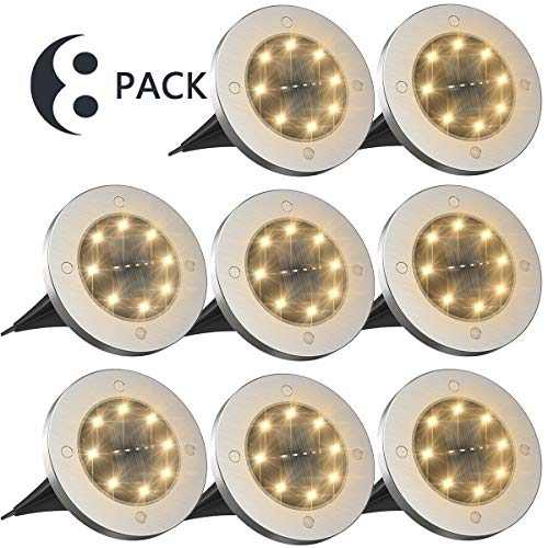 Solar Lights Outdoor,Disk Lights Solar Powered 8 LED ,Outdoor in-ground Solar Lights for Landscape Walkway Lawn Steps Decks, LED lamp, Waterproof(Warm White)