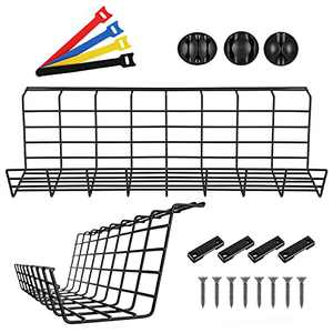 Magicfly 2 Pack Under Desk Cable Management, 17 Inch Cable Management Tray with 3 Cord Holders and 4 Cable Ties, Metal Wire Cable Tray Organizer for Office & Home, Black