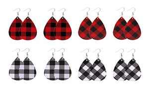 8 Pairs Leather Tear Drop Earrings Faux Lightweight Teardrop Dangle Handmade Earrings Set for Women Girl as Jewelry Gift