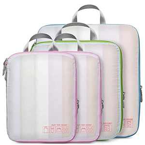 Compression Packing Cubes, Veckle 4 Pcs See-through Travel Packing Organizers Storage Bags Compression Cubes