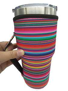 Ranxizy Washable Iced Coffee Cup Sleeve Neoprene Insulated Sleeves Cup Cover Holder Tumbler Carrier Holder Pouch with Handle (30-32oz),Stripe