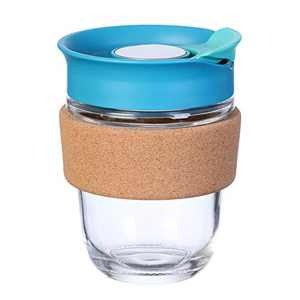 Reusable Coffee Cup, 12oz/360ml, Glass Coffee Travel Mug with Spill-proof Lid, 100% BPA Free, Microwave Safe, Durable and Lightweight Cork Sleeve(Blue)