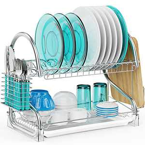 Dish Drying Rack, Veckle 2 Tier Dish Rack with Removable Drain Board Dish Drainer Utensil Holder, Cutting Board Holder for Kitchen Countertop, Silver