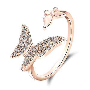 QJLE Butterfly Rings for Girls Teens,Tiny Cubic Zirconia CZ Simulated Diamond Pave Rings for Women,18K Rose Gold Plated Open Cuff Adjustable Animal Band (Rose Gold, 5)