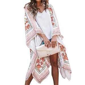 Women Floral Kimono Cardigan - Casual Chiffon Kimonos Tops Boho Loose Blouse Open Front Swinsuit Beach Cover Ups (M, White-A)