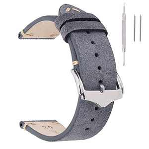Leather Watch Bands 19mm For Men EACHE Vintage Watch Straps Grey For Women Suede Leather Replacement Watchband