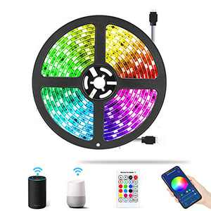 AveyLum WiFi Smart LED Strip Light Kit 16.4ft Flexible Rope Lights 5050 SMD RGB Waterproof IP65 App Tape Lights Sync to Music, Compatible with Alexa, Google Assistant, Android iOS……