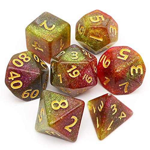 Haxtec Glitter DND Dice Red Yellow Grey Iridescent Glitter Polyhedral D&D Dice for Roleplaying Dice Games Dungeons and Dragons-Palm Beach