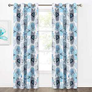 KGORGE Farmhouse Curtains for Living Room - Floral Printed Curtains Light Block Privacy Protect Window Drapery for Bedroom Dining Sliding Glass Door Décor, Blue and Gray, W 52 x L 84, 2 Pcs