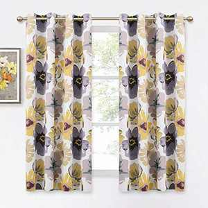 KGORGE Leah Floral Farmhouse Curtains - Room Darkening Window Panels Flower Painting Set for Kitchen Dining Room Bedroom, Yellow and Gray, Wide 52 inch x Long 63 inch Each, 1 Pair