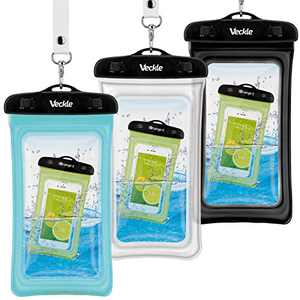 Waterproof Phone Pouch, Veckle 3 Pack Clear Universal Water Proof Cell Phone Pouch Floating Dry Bag Waterproof Case Beach Bag for Smartphones Black White Blue