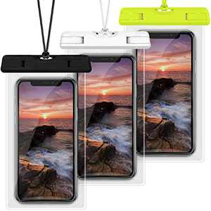 Waterproof Case, Veckle 3 Pack Travel Waterproof Phone Pouch Universal Clear Water Proof Dry Beach Bag for iPhone X 8 7 6S 6 Plus, Samsung Galaxy S9 S8 S7 S6, Note 5, Black White Green