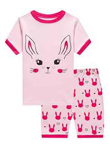 Family Feeling Little Boys Girls Bunny Easter Short Pajamas 100% Cotton Pink Summer Pjs Sleepwear Toddler Kid 4T
