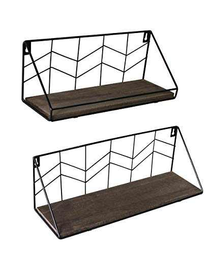 Afuly Rustic Floating Shelves Wall Mounted Set of 2, Black Metal Wire with Brown Wood Storage Shelf,Modern Industrial Display Shelf for Bedroom Bathroom Plant Kitchen Living Room Office