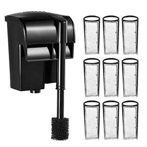 OKMEE 70 GPH Fish Tank Filter, Aquarium Filter Hang-on with 9 PCS Replacement Filter Cartridges for 8-27 Gallons Tank, Adjustable Flow & Quiet Working for Cycle Oxygen