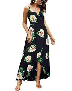 VOTEPRETTY Womens Summer Casual V Neck Spaghetti Strap Flowy Party Floral Print Maxi Dresses (Floral03,M)