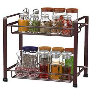 Spice Rack, Cambond Spice Organizer Seasoning Organizer Kitchen Bathroom Counter Organizer 2-Tier Standing Rack, Bronze
