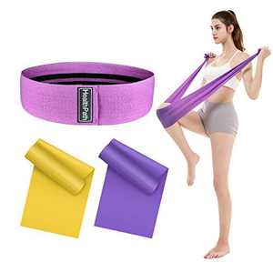 Resistance Exercise Bands Set, Workout Exercise Bands for Arms, Legs and Butt, 2 Latex Elastic Exercise Strap and 1 Resistance Booty Hip Bands Perfect for Strength Training, Yoga, Pilates, Set of 3