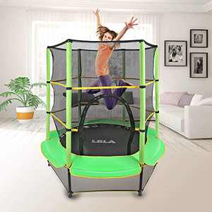 "LBLA Kids Trampoline, 55"" Mini Trampoline for Kids with Enclosure Net and Safety Pad, Heavy Duty Frame Round Trampoline with Built-in Zipper for Indoor Outdoor (Green)"