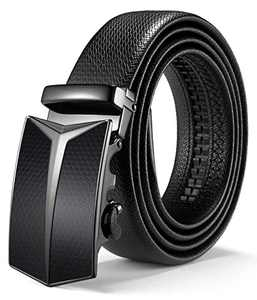 """ITIEZY Leather Ratchet Dress Belt with Automatic Click Buckle 1 3/8"""" Sliding Belt for Men in Gift Box, Adjustable Trim to Fit"""