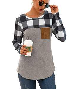 Mingnos Women's Cotton Blend Loose Long Sleeve Plaid Pullover T-Shirt Tops (Grey Plaid+Grey, XL)