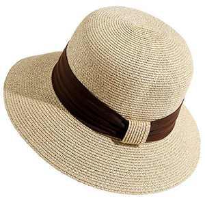 Lanzom Women Wide Brim Straw Foldable Roll up Cap Fedora Beach Sun Hat UPF50+ (Style A- Mix Beige)