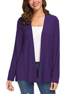 Women's Long Sleeve Solid Color Open Front Cardigan (S, Purple)