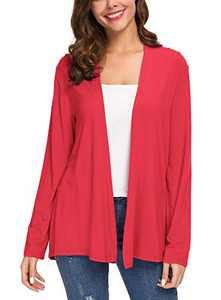 Women's Long Sleeve Solid Color Open Front Cardigan (L, Red)