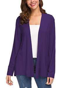 Women's Long Sleeve Solid Color Open Front Cardigan (L, Purple)