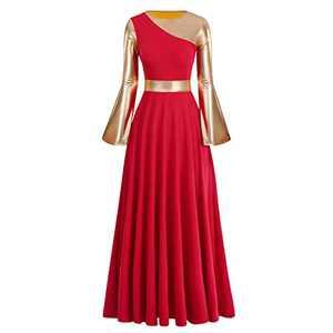 IBAKOM Women Adult Metallic Gold Color Block Long Sleeve Praise Dance Worship Robe Dress Loose Fit Full Length Liturgical Tunic Circle Skirt Lyrical Dancewear Swing Gowns Ballet Costume Red-Gold S