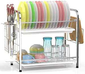 Veckle Dish Drying Rack, 2 Tier Dish Rack Stainless Steel Utensil Holder Cutting Board Holder Dish Drainer with Removable Drain Boards for Kitchen Countertop, Silver