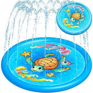 """Splash Pad Water Toy Sprinkler Mat Pool for Kids Toddlers 68"""" Outdoor Summer Toys Kiddie Baby Swimming Pools - Fun Backyard Trampoline Lawn Games Infant Wading Pool Slide, Water Play for Ages 1 - 12"""