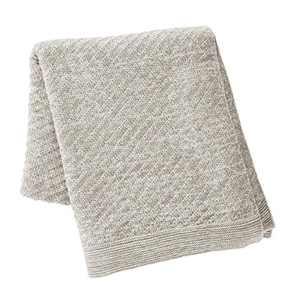 "Kenneth Cole New York Kcny Essentials 50"" X 60"" Knit Throw Blanket, Light Grey"