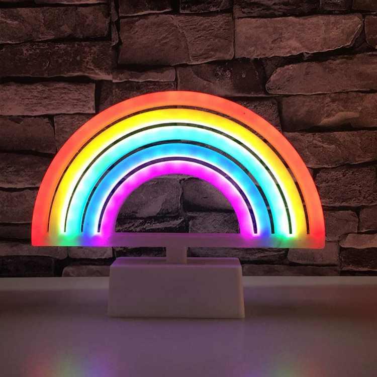 Uonlytech Rainbow Night Light, Rainbow Neon Light, Rainbow Table Light for Valentines Day Home, 1Pcs