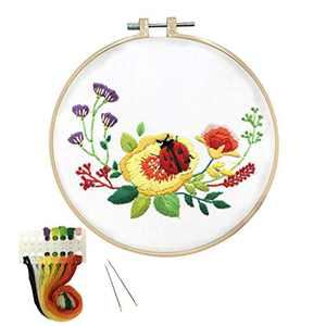 Louise Maelys Embroidery Kit for Beginner Ladybug Flower Pattern Cross Stitch Needlepoint Kits Hand Embroidery Starter Kit for Adults