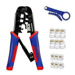 WORKPRO RJ45 Crimping Tool Kit, RJ Ratcheting Crimper with 30-Piece 8P/RJ45, 6P/RJ11 Insulated Terminals, Bonus Mini Wire Stripper Included
