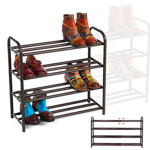 """GEMITTO Shoe Rack Organizer for Entryway Closet, Adjustable Heavy Duty Metal Free Standing Shoe Racks Storage Shelf 4 Tiers, Large Enough for 20+ Pairs of Shoes (23.6""""~41.7""""x8.9""""x24.2"""")(Brown)"""