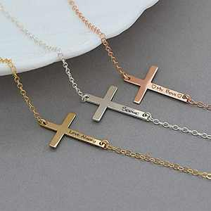 Personalized Sideways Cross Necklace, Sterling Silver Custom Name Necklace Horizontal Engraved Pendant for Women