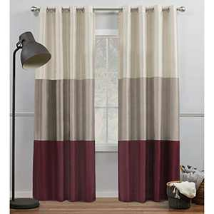 Exclusive Home Curtains Chateau Striped Faux Silk Grommet Top Curtain Panel Pair, 54x96, Burgundy/Taupe