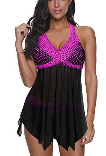 Women's Swimsuits Plus Size Tankini 2 Piece Swimwear Bathing Suits Cover Up Swimdress Rose Red X-Large(Fits Like US:12-14)