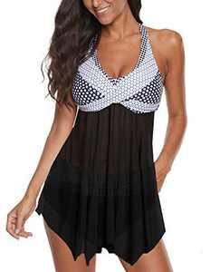 Women's Swimsuits Plus Size Tankini 2 Piece Swimwear Bathing Suits Cover Up Swimdress White Large(Fits Like US:10-12)