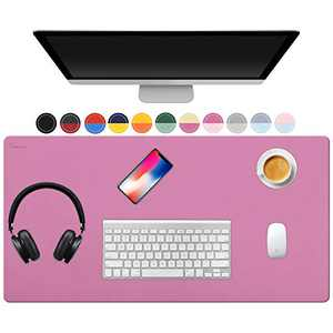 """TOWWI Dual Sided Desk Pad, 36"""" x 17"""" PU Leather Desk Mat, Waterproof Desk Blotter Protector Mouse Pad (Rose Red/Pink)"""