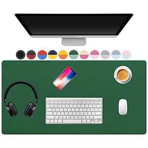 "TOWWI Dual Sided Desk Pad, 36"" x 17"" PU Leather Desk Mat, Waterproof Desk Blotter Protector Mouse Pad (Dark Green/Light Green)"