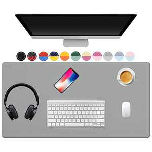 """TOWWI Dual Sided Desk Pad, 32"""" x 16"""" PU Leather Desk Mat, Waterproof Desk Blotter Protector Mouse Pad (Gray/Sliver)"""