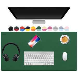 "TOWWI Dual Sided Desk Pad, 32"" x 16"" PU Leather Desk Mat, Waterproof Desk Blotter Protector Mouse Pad (Dark Green/Light Green)"