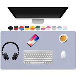 "TOWWI Dual Sided Desk Pad, 32"" x 16"" PU Leather Desk Mat, Waterproof Desk Blotter Protector Mouse Pad (Purple/Blue)"