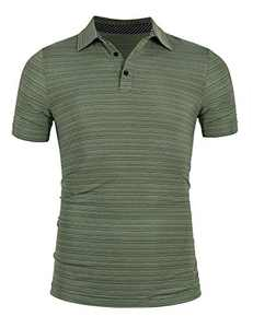 Mens Lightweight Short Sleeve Golf Shirts Active Dry Fit Golf Polos Training T Shirts