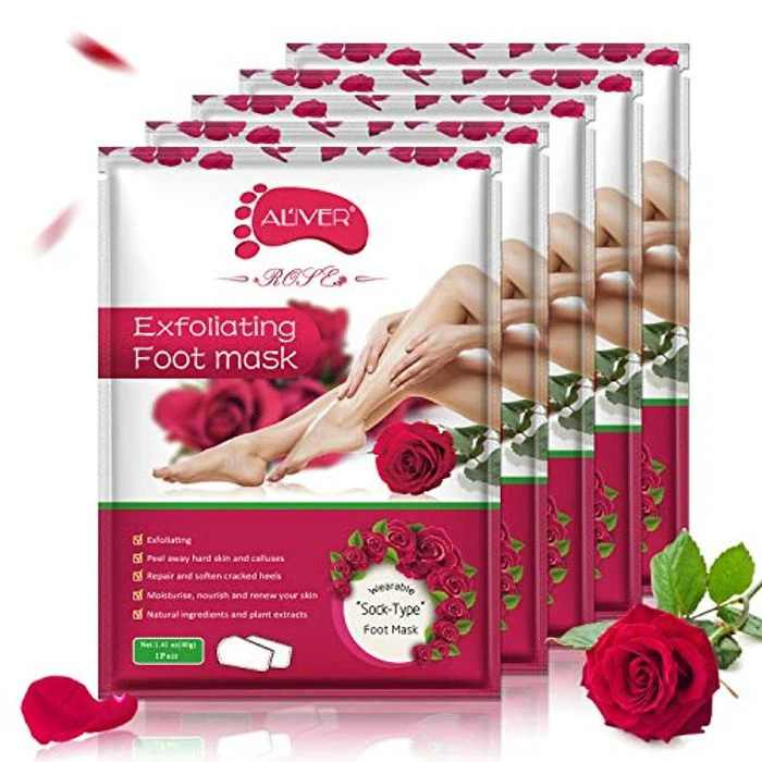 Exfoliating Foot Peel Mask - 5 Pack - Dead Skin & Calluses - Make Your Feet Baby Soft & Get Smooth Silky Skin - Removes & Repairs Rough Heels, Dry Toe Skin