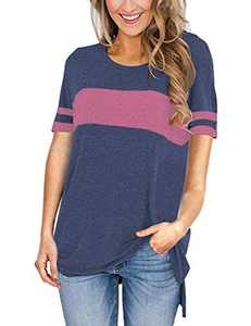 AMCLOS Womens Tops Color Block Shirt Round Neck Side Split High Low Tunic Short Sleeve (C-Blue,S)